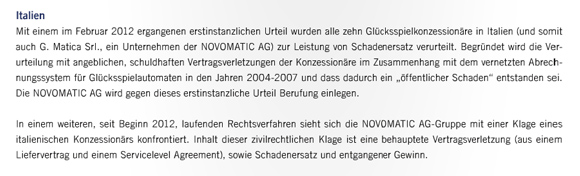 Jahresfinanzbericht 2011 Novomatic AG, Ausschnitt Seite 88