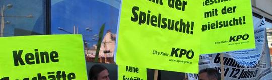 KPÖ-Protest gegen kleines Glücksspiel
