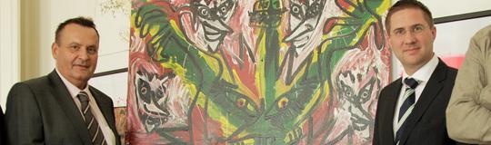 Maximilan Stromer (l.) tritt auch als Mäzen auf. Die Kunstspende an das MKH initiierte Andreas Rabl (r.)
