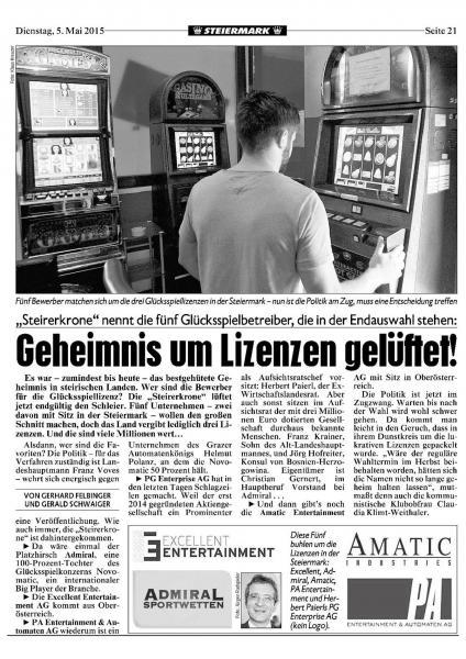 KRONEN ZEITUNG: Geheimnis um Lizenzen in der Steiermark gelüftet