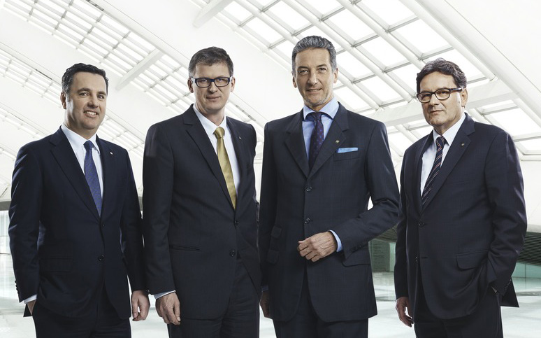 NOVOMATIC-Vorstand: v.r.n.l.: Mag. Thomas Graf, CTO NOVOMATIC AG, Mag. Peter Stein, CFO NOVOMATIC AG, Stv. Aufsichtsratsvorsitzender NOVOMATIC ACE, Stv. Aufsichtsratsvorsitzender NOVOMATIC AGI, Mag. Harald Neumann, CEO NOVOMATIC AG, Aufsichtsrat NOVOMATIC AGI und DI Ryszard Presch, COO NOVOMATIC AG, Aufsichtsratsvorsitzender NOVOMATIC AGI