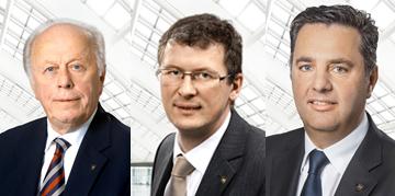 Senator KR Herbert Lugmayer, Aufsichtsratsvorsitzender NOVOMATIC AG, Mag. Peter Stein, Mitglied des Vorstandes, Mag. Thomas Graf, CTO NOVOMATIC AG © Novomatic