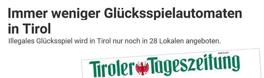 Die Kontrollen der Finanzpolizei zeigen Wirkung: In Tirol sinkt die Anzahl der Spiellokale und Automaten. © Tiroler Tageszeitung