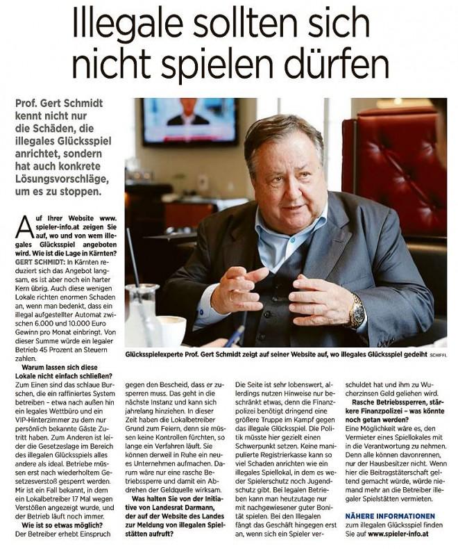 Interview mit Prof. Gert Schmidt, Kleine Zeitung, 10.11.2017.